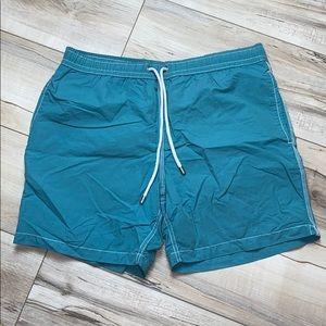 Hartford Swim Trunks Underlined Aqua Medium